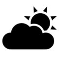 Weather Icon - Cloud and Sun Stencil